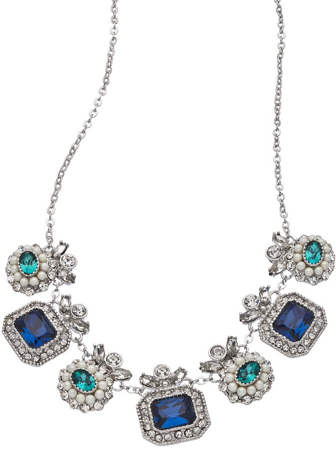 Carolee Regal Reflection Peacock Frontal Drop Collar Necklace