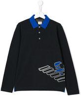 Armani Junior Teen logo print polo shirt