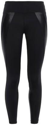 Koral Hull Cropped Satin-paneled Stretch Leggings