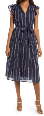Adelyn Rae Metallic Stripe Ruffle Sleeve Midi Dress