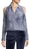 Ramy Brook Hazel Button-Front Cold-Shoulder Printed Silk Top