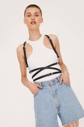 Nasty Gal Womens Strap to It Faux Leather Harness Belt - Black