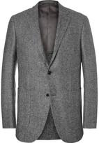Ermenegildo Zegna Slim-fit Puppytooth Trofeo Wool, Silk, Linen And Cashmere-blend Blazer - Gray
