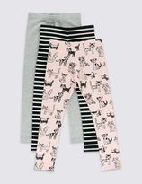 Marks and Spencer 3 Pack Cotton Rich Leggings with StayNEWTM (1-7 Years)