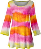 Lily Women's Tunics PNK - Pink & Orange Watercolor Stripe Scoop-Neck Flared Tunic - Women & Plus