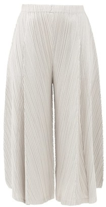 Pleats Please Issey Miyake Cropped Wide-leg Technical-pleated Trousers - Grey