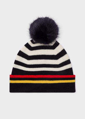 Paul Smith Women's Navy And Cream Stripe Lambswool Bobble Hat
