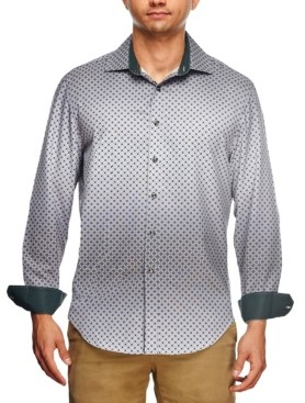 Tallia Men's Slim Fit Ombre Geo Print Long Sleeve Shirt and a Free Face Mask