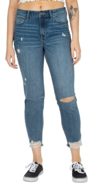 Thumbnail for your product : Rewash Juniors' Real Curve Frayed-Hem Mom Jeans