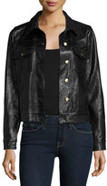 Frame Leather Crop Jacket, Black