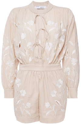 IRO Hoya Lace-up Embroidered Cotton And Tencel-blend Playsuit