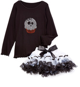 Beary Basics Black Skull Cupcake Tee & White Tutu - Infant Toddler & Girls