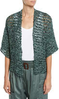 Brunello Cucinelli Sequin Net-Knit Belted Cardigan