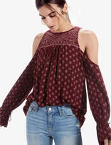 Lucky Brand Cold Shoulder Printed Top