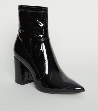 New Look Patent Pointed Block Heel Boots