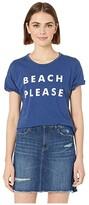 Original Retro Brand The Beach Please Rolled Short Sleeve Slub Tee (Cobalt) Women's Clothing