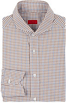 Isaia Men's Plaid Poplin Shirt-BROWN