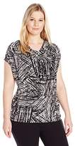 Kasper Women's Plus Size Abstract Crosshatch Print Ity Cami