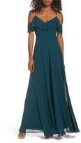 Jenny Yoo Women's Cold Shoulder Chiffon Gown