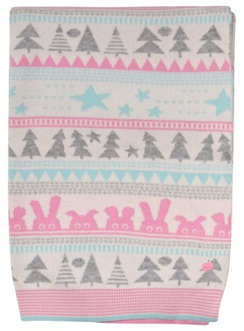 The Bonnie Mob Pink Woodland Knitted Blanket