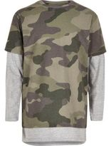 River Island Boys khaki camo layered T-shirt