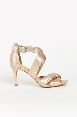Wallis **WIDE FIT Rose Gold Cross Strap Sandal