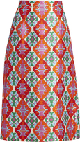 Andrew Gn Geometric-print sateen midi skirt