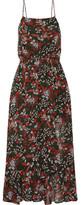 Maje Ruffle-trimmed Printed Chiffon Midi Dress - Red