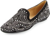 Neiman Marcus Studded Suede Loafer, Black