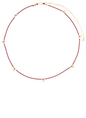 Petite Grand Red Ball Drop Cord Necklace