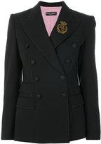 Dolce & Gabbana double breasted crown patch blazer - women - Silk/Polyamide/Polyester/Virgin Wool - 40