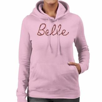 Disney Beauty and The Beast Belle Cursive Design Women's Hooded Sweatshirt Light Pink