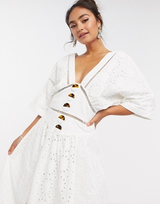 ASOS DESIGN broderie button through midi dress with lace inserts in white