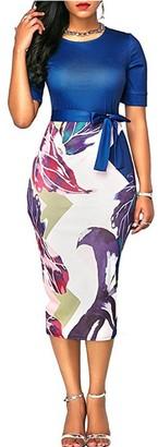 Inshine Women Cut Out Flora Print Bodycon Business Cocktail Dresses Blue-XL