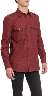 Givenchy Men's Check Military Sport Shirt