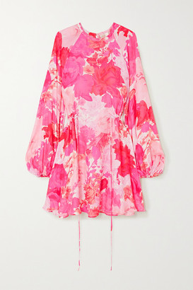 Stine Goya Coco Floral-print Modal And Silk-blend Mini Dress - Fuchsia