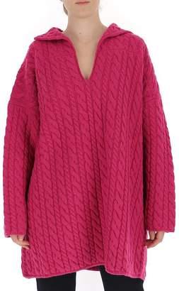 Balenciaga V-Neck Cable Knit Pullover