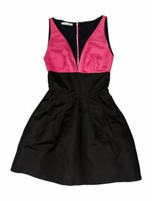 Oscar de la Renta Colorblock Pattern Mini Dress Black
