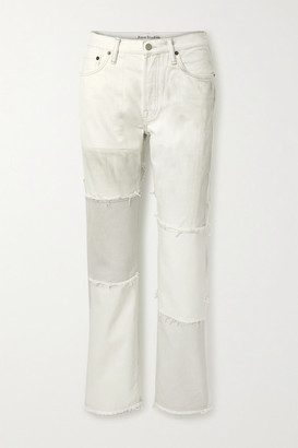 Acne Studios + Net Sustain 1997 Frayed Patchwork Organic High-rise Straight-leg Jeans - Light gray