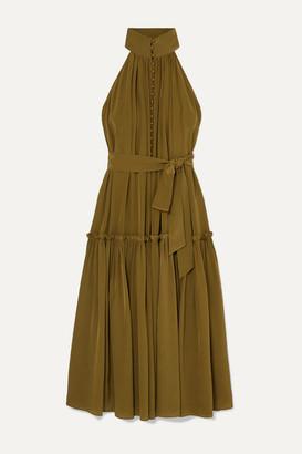 Zimmermann Super Eight Tiered Silk Crepe De Chine Midi Dress - Army green