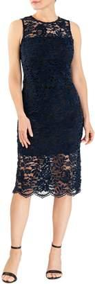 Forest Lily Velvet Lace Knee-Length Sheath Dress