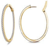 Lafonn 18K Gold Over Sterling Silver Micro Pave Simulate Diamond Open Hinged Oval Shape Inside Out Hoops