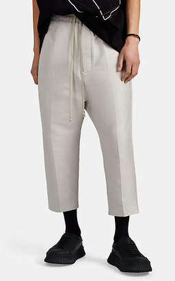 Rick Owens Men's Cotton-Silk Plissé Cropped Trousers - White