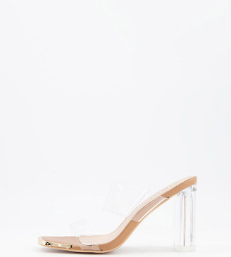 Simmi Wide Fit Simmi London Wide Fit Heidi double strap mules with toe plating in clear