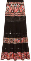 Roberto Cavalli Jacquard And Pointelle-knit Maxi Skirt - Black