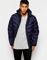 Scotch & Soda Insulated Jacket With Hood - Blue
