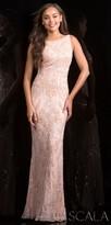 Scala Damask Beaded Scoop Back Prom Dress