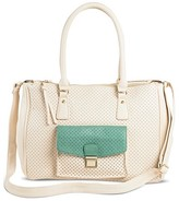 Under One Sky Women's Faux Leather Under One Sky Perforated Satchel Handbag