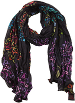 Aller Simplement Black & Purple Floral Scarf