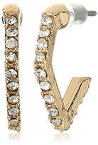 Jessica Simpson Antique Gold/Crystal Pave V Huggie Earrings